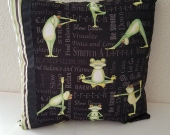 Yoga frogs pillow cover, yoga frogs, yoga pillow cover, decorative pillow, throw pillow, gift pillow, yoga gifts, gifts for her, yoga frogs
