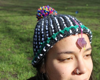 Handmade crystal healing hat, one of a kind, limited edition, amethyst third eye charger, super warm, made with love, remember to breathe.
