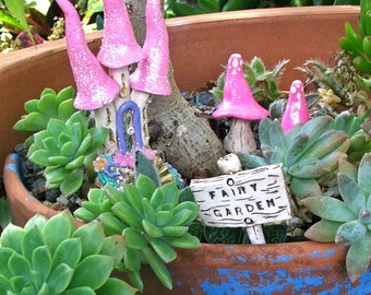 Fairy Castle Set for Fairy Garden, Terrarium etc. 4 pieces Hand Sculpted Pottery
