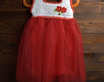 White Crochet Tutu for Baby Girl's, Christening baby girl dress, Handmade beautiful tutu dress, red
