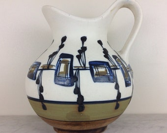 Harsa Israel Hand Painted Pottery Mid-Century Modern Ceramic Pitcher
