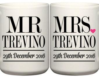 Set of Wedding Date Mugs Mr. & Mrs. - Wedding Date