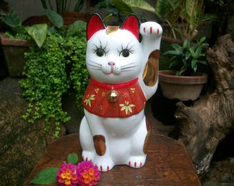 1970s Mid Size Chinese Porcelain Figurine Maneki Neko Beckoning Cat Good Luck Charm Fortune Cat