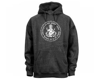 Yoga wear Hindu Buddhist Ganesh Lord Mantra women/men/junior dark heather gray hoodie
