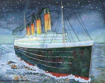 Titanic Watercolor Print. Titanic painting. Nautical decor. Ship wall art. Ship picture. Titanic picture. Watercolor ship. Titanic artwork.