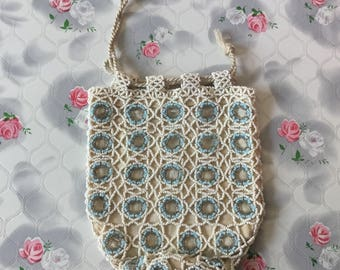 Vintage beaded bag dolly bag blue and white beaded purse 1920s beaded evening purse Czechoslovakia bridal something blue 1920's dance purse