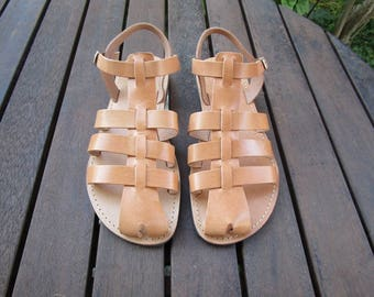 Hand Made Greek Leather Sandal (Tan, Natural Colour)
