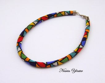 DISCOUNT-mothers day gift-African Necklace-Emek Pinari-Bead Crochet Necklace-Multple colors-Handmade Beadwork Necklace-Indian necklace-