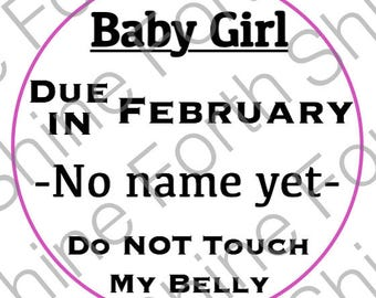 Pregnancy baby girl T-shirt IRON-ON with month due