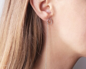 Gray | Sterling Silver Circle Threaded Earrings