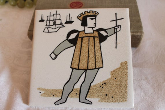 Hand Made Mosaic Ceramic Tile depicting Christopher Columbus
