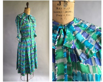1950's Abstract Print Silk Dress