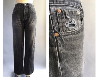Distressed Faded Black Levi's 501 Jeans