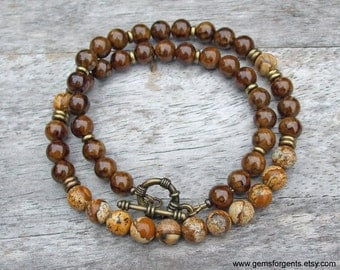 Coffee Brown Dolomite and Picture Jasper, Mens Beaded Necklace, Mens Jewelry – N37