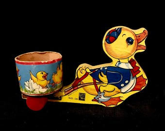 Vintage Fisher Price, Ducky Cart Pull Toy, #16, Made for Easter Season,  Wood Pull Toy, Floor toy, Made in USA, 1946-1948