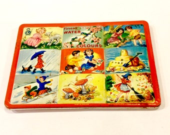 Vintage  Watercolor Paint Tin Box, Made in England, Mid Century Graphics, Four Seasons, Mary had Little Lamb, Sandcastle Birds, 1950s