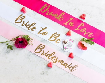 Bride to Be Sash With Pin Included Gold / Bridesmaid Sash / Custom Hen's Party Sash