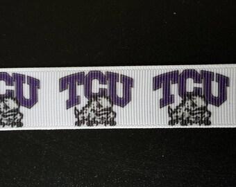 """7/8"""" Texas Christian University TCU Horned Frogs Inspired Grosgrain Ribbon"""