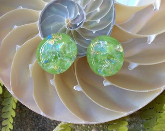 Light Green with Dichroic Sparkles Stud Earrings