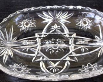 Vintage EAPG Divided Dish,Pickle Dish, Nut or Candy Dish, Star of David Pattern ,Anchor Hocking Made in USA, Clear Glass