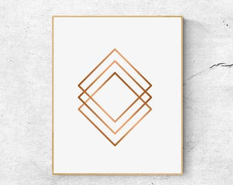 Copper print, Geometric wall art print, Abstract art print, Large wall art printable, Minimalist print, Abstract wall art, Geometric print