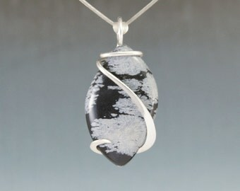 Snowflake Obsidian Leaf Freeform Cold Forged Sterling Silver Pendant