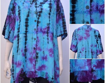 Plus Size Tie Dye Floral Embroidered Tunic Top Turquoise Freesize 8 10 12 14 16 18 20 22 24 26 28