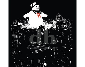 Stay Puft in the City Ghostbusters Art Print
