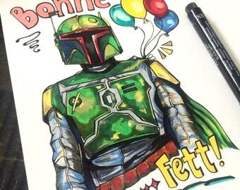 """Hand-drawn Boba Fett French Pun Star Wars birthday card """"Bonne Fete"""" - blank inside"""