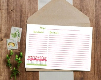 SALE 25% OFF Flamingo Recipe Card - Instant Download - 3x5 and 4x6