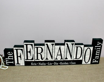 Family Name Wood Sign, Gift for Parents, New Home Gift, Family Name Blocks, Mantle Decor, Family Name Decor, Housewarming Gift, 8 Letters
