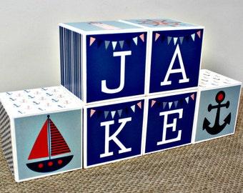 Custom Baby Name Blocks, Nautical Nursery Decor, Personalized Baby Name Blocks, Nursery Blocks, Nautical Baby Shower Gift, Nautical Decor
