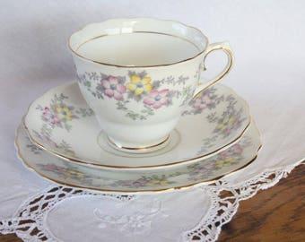 Vintage Colclough Trio Bone China ~ Teacup Saucer Plate ~ High Tea Mismatched China Teacups