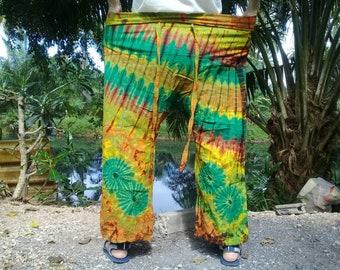 """Tie Dye Fisherman Pants Thai Long Wrap Pants Hippie Travel Beach 44""""  Lime Green Mix"""