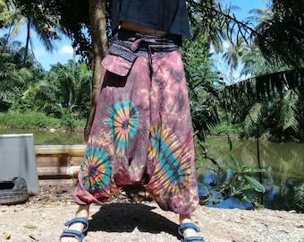 Mens Tie Dye Harem Pants Baggy Pants Ninja Pirate Drop Crotch Deep Rose Mix