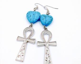 Ankh Earrings, Egyptian Earrings, Kemet Jewelry, African Jewelry, Silver Ankh Earrings, Gift for Her , Ladies' Jewelry