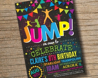 Jump Trampoline or Bounce House Birthday Party Invite for Big Kids, Jump Party, Bounce House, Trampoline Invitation Chalkboard (Printable)