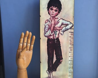 Jolylle Big Eyed Boy. F. Idylle. Big Eyes Children. Print on Board. Kitsch Wall Art 1960s. Barefoot boy with grapes.