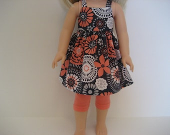 14.5 Inch Doll Clothes - Navy and Coral Sundress Outfit made to fit dolls such as Wellie Wishers doll clothes