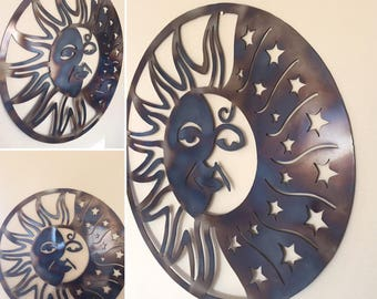 Sun Moon Stars Abstract Metal Wall Art Deocr