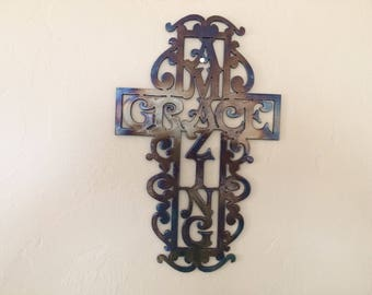 Amazing Grace Wall Art heart cross metal wall art decor