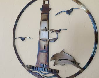 Lighthouse Ocean Scene w/Dolphins Metal Wall Art Decor