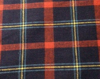 Navy Blue and Red Plaid Flannel 100% Cotton