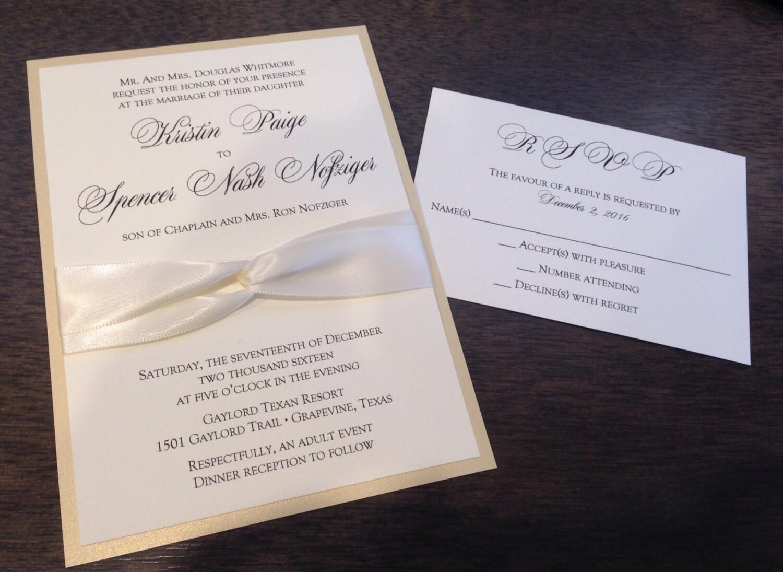 Ivory Wedding Invitation Kits: Champagne Wedding Invitation Set Elegant Wedding Invitation