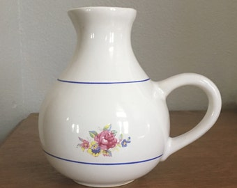 White Pitcher With Blue Stripes and Flowers Low Handle