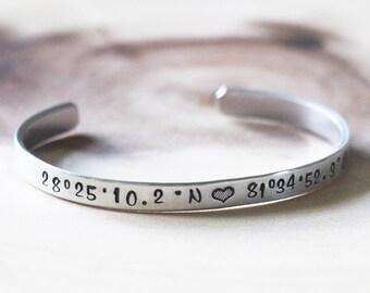 Longitude Latitude Cuff Bracelets - Custom Coordinates, GPS, Personalised Jewelry Bracelet, Best Friends, GPS Bracelets | Graduation Present