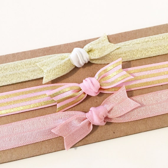 Pink + Gold Sparkle Knot Bow Headband Set | Soft Elastic Knot Bow Headbands for Baby Toddler Girls, New Baby Girl Gift, Pink + Gold Stripes