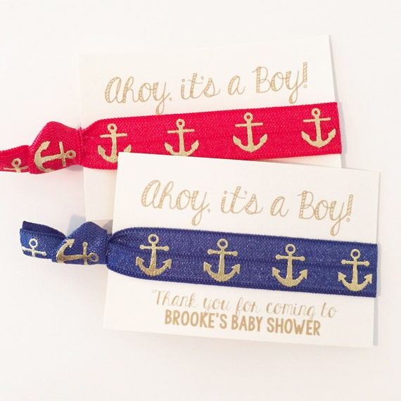 Nautical Baby Shower Hair Tie Favors   Navy Blue Anchor Hair Tie Favors, Baby Shower Hair Tie Favors, Boy Baby Shower Favors, Ahoy Its a Boy