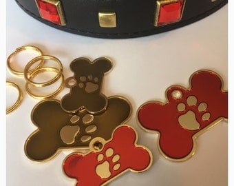 Pet ID Tag Cat Dog - FREE SHIPPING (Canada) engraved free -Gold 24ct Plated Paw Design - Shipped from Canada
