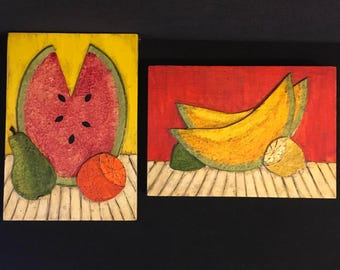 Pair of Summer Fruit Collage Paintings Beach House Colorful Modernist